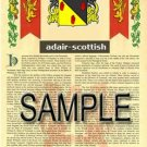 ADAIR - SCOTTISH - Coat of Arms - Family Crest - Armorial GIFT! 8.5x11