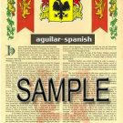 AGUILAR - SPANISH - Coat of Arms - Family Crest - Armorial GIFT! 8.5x11