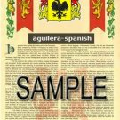 AGUILERA - SPANISH - Coat of Arms - Family Crest - Armorial GIFT! 8.5x11