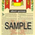 ALBERT - GERMAN - Coat of Arms - Family Crest - Armorial GIFT! 8.5x11