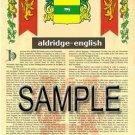 ALDRIDGE - ENGLISH - Coat of Arms - Family Crest - Armorial GIFT! 8.5x11