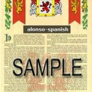 ALONSO - SPANISH - Coat of Arms - Family Crest - Armorial GIFT! 8.5x11