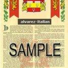 ALVAREZ - ITALIAN - Coat of Arms - Family Crest - Armorial GIFT! 8.5x11