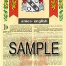 AMES - ENGLISH - Coat of Arms - Family Crest - Armorial GIFT! 8.5x11