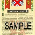 ANDERSON - SCOTTISH - Coat of Arms - Family Crest - Armorial GIFT! 8.5x11
