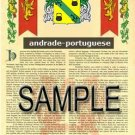ANDRADE - PORTUGUESE - Coat of Arms - Family Crest - Armorial GIFT! 8.5x11