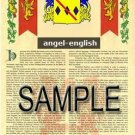 ANGEL - ENGLISH - Coat of Arms - Family Crest - Armorial GIFT! 8.5x11