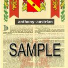 ANTHONY - AUSTRIAN - Coat of Arms - Family Crest - Armorial GIFT! 8.5x11