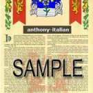 ANTHONY - ITALIAN - Coat of Arms - Family Crest - Armorial GIFT! 8.5x11