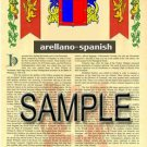 ARELLANO - SPANISH - Coat of Arms - Family Crest - Armorial GIFT! 8.5x11