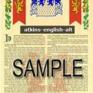 ATKINS - ENGLISH - ALT - Coat of Arms - Family Crest - Armorial GIFT! 8.5x11