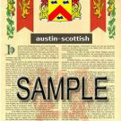 AUSTIN - SCOTTISH - Coat of Arms - Family Crest - Armorial GIFT! 8.5x11
