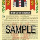BABCOCK - ENGLISH - Coat of Arms - Family Crest - Armorial GIFT! 8.5x11