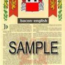 BACON - ENGLISH - Coat of Arms - Family Crest - Armorial GIFT! 8.5x11