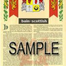 BAIN - SCOTTISH - Coat of Arms - Family Crest - Armorial GIFT! 8.5x11