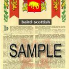 BAIRD - SCOTTISH - Coat of Arms - Family Crest - Armorial GIFT! 8.5x11