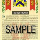 BAKER - DUTCH - Coat of Arms - Family Crest - Armorial GIFT! 8.5x11