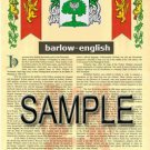 BARLOW - ENGLISH - Coat of Arms - Family Crest - Armorial GIFT! 8.5x11