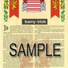 BARRY - IRISH - Coat of Arms - Family Crest - Armorial GIFT! 8.5x11