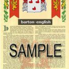 BARTON - ENGLISH - Coat of Arms - Family Crest - Armorial GIFT! 8.5x11