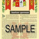 BARTON - GERMAN - Coat of Arms - Family Crest - Armorial GIFT! 8.5x11