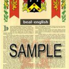 BEAL - ENGLISH - Coat of Arms - Family Crest - Armorial GIFT! 8.5x11