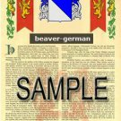 BEAVER - GERMAN - Coat of Arms - Family Crest - Armorial GIFT! 8.5x11