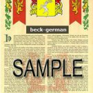 BECK - GERMAN - Coat of Arms - Family Crest - Armorial GIFT! 8.5x11