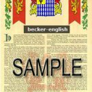 BECKER - ENGLISH - Coat of Arms - Family Crest - Armorial GIFT! 8.5x11