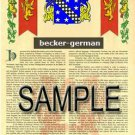 BECKER - GERMAN - Coat of Arms - Family Crest - Armorial GIFT! 8.5x11