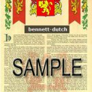 BENNETT - DUTCH - Coat of Arms - Family Crest - Armorial GIFT! 8.5x11