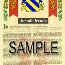 BENOIT - FRENCH - Coat of Arms - Family Crest - Armorial GIFT! 8.5x11