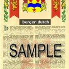 BERGER - DUTCH - Coat of Arms - Family Crest - Armorial GIFT! 8.5x11