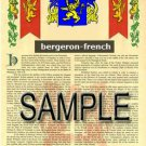BERGERON - FRENCH - Coat of Arms - Family Crest - Armorial GIFT! 8.5x11