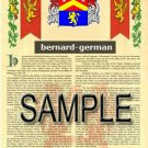 BERNARD - GERMAN - Coat of Arms - Family Crest - Armorial GIFT! 8.5x11