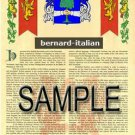 BERNARD - ITALIAN - Coat of Arms - Family Crest - Armorial GIFT! 8.5x11