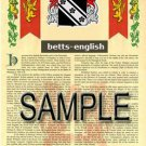 BETTS - ENGLISH - Coat of Arms - Family Crest - Armorial GIFT! 8.5x11