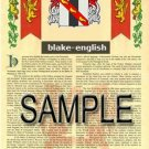 BLAKE - ENGLISH - Coat of Arms - Family Crest - Armorial GIFT! 8.5x11