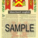 BLANCHARD - ENGLISH - Coat of Arms - Family Crest - Armorial GIFT! 8.5x11