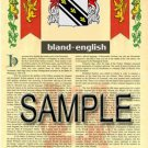BLAND - ENGLISH - Coat of Arms - Family Crest - Armorial GIFT! 8.5x11