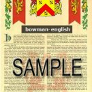 BOWMAN - ENGLISH - Coat of Arms - Family Crest - Armorial GIFT! 8.5x11