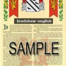 BRADSHAW - ENGLISH - Coat of Arms - Family Crest - Armorial GIFT! 8.5x11