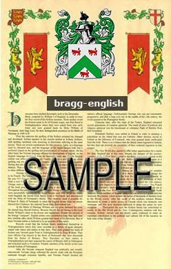 BRAGG - ENGLISH - Coat of Arms - Family Crest - Armorial GIFT! 8.5x11