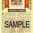 BRANDON - ENGLISH - Coat of Arms - Family Crest - Armorial GIFT! 8.5x11
