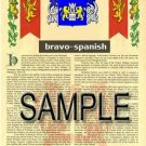 BRAVO - SPANISH - Coat of Arms - Family Crest - Armorial GIFT! 8.5x11