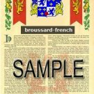 BROUSSARD - FRENCH - Coat of Arms - Family Crest - Armorial GIFT! 8.5x11