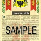 BROWNE - IRISH - Coat of Arms - Family Crest - Armorial GIFT! 8.5x11