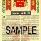 BRYAN - IRISH - ALT - Coat of Arms - Family Crest - Armorial GIFT! 8.5x11