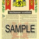 BUCHANAN - SCOTTISH - Coat of Arms - Family Crest - Armorial GIFT! 8.5x11