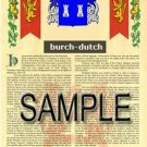 BURCH - DUTCH - Coat of Arms - Family Crest - Armorial GIFT! 8.5x11